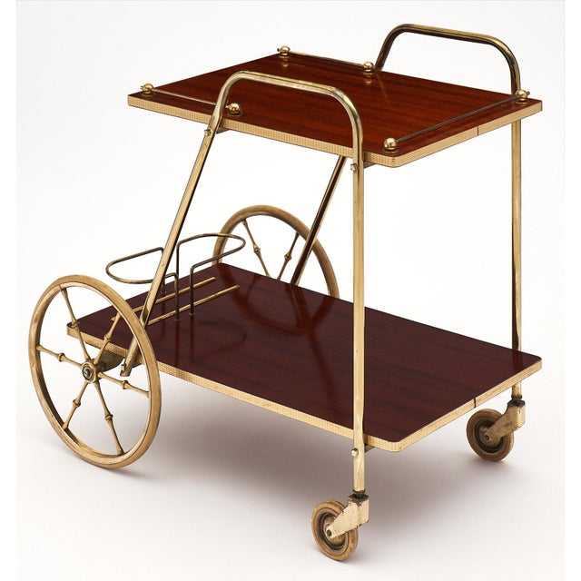 Brass French Art Deco Period Rosewood and Brass Bar Cart For Sale - Image 7 of 10