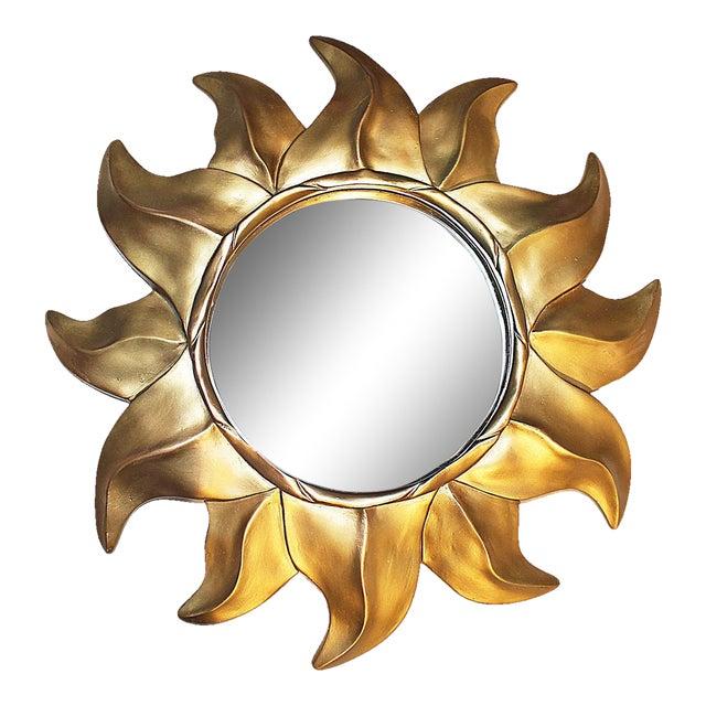 Gold Sunflower Framed Round Mirror - Image 1 of 5