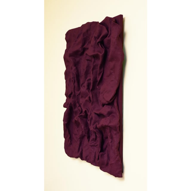 "Abstract ""Raspberry Dream Folds"" Mixed Media Wall Sculpture by Chloe Hedden For Sale - Image 3 of 4"
