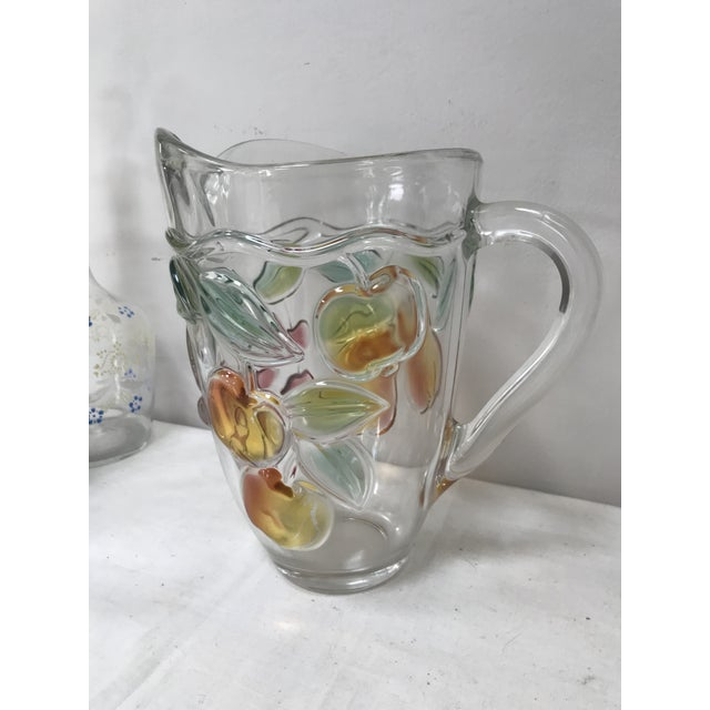 Late 20th Century Vintage Glass Pitcher Colored Glass Fruits For Sale - Image 5 of 5