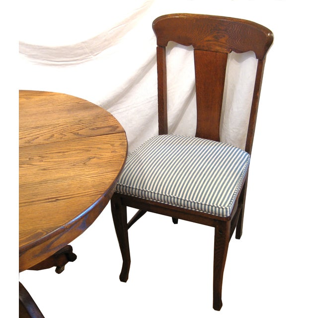 Round Claw Foot Oak Dining Set - Image 3 of 6