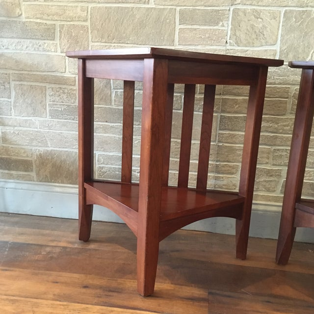 Late 20th Century Ethan Allen Solid Cherry Triangle Corner Side Table For Sale - Image 13 of 13