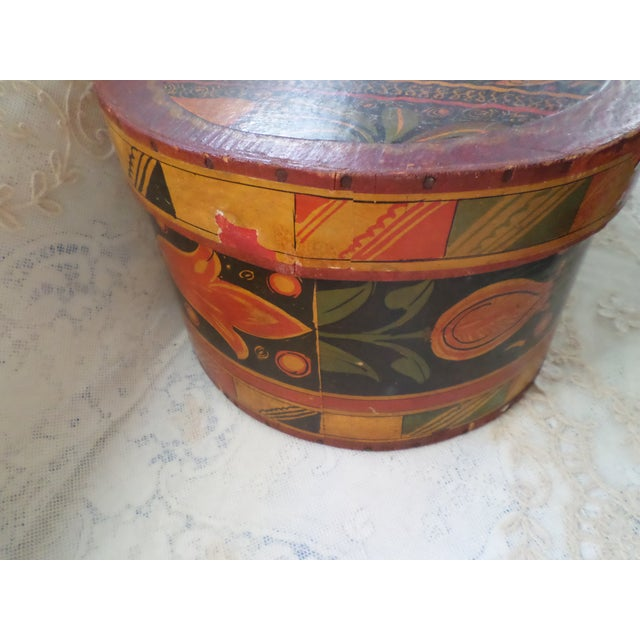 1910s Antique Tony Sarg Nantucket Hand Painted Wooden Bride Box For Sale - Image 5 of 12