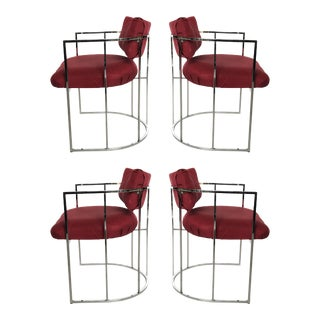 Four Mid-Century Chrome Milo Baughman Dining Chairs For Sale