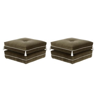Casa Cosima Turkish Ottoman in Olive Velvet, a Pair For Sale