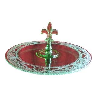 Vintage Circa 1930s Fostoria Glass Co. Seville Green Fleur De Lis Handled Serving Tray For Sale