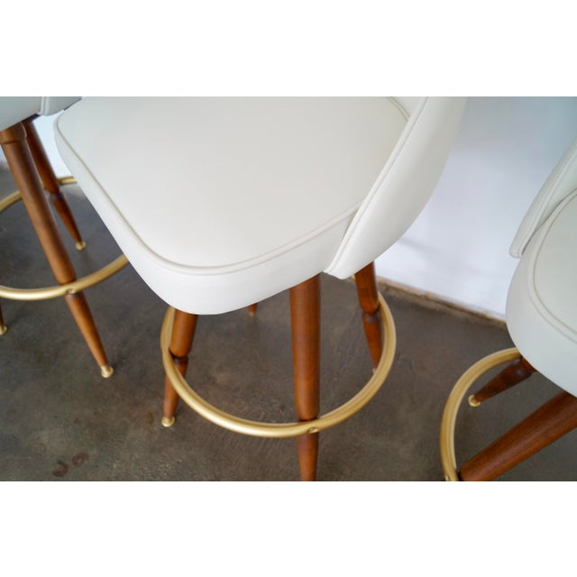 Mid-Century Hollywood Regency Bar Stools - Set of 3 - Image 9 of 11