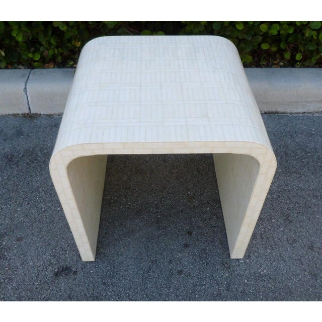 Hollywood Regency 1970's Hollywood Regency Tessellated Bone Side Table For Sale - Image 3 of 9