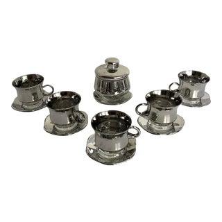 Vintage Mercury Glass Tea/Coffee Set For Sale