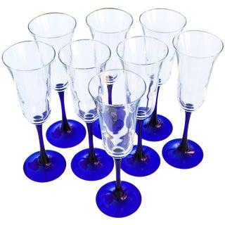 Blue Stem Champagne Glasses, S/8 For Sale