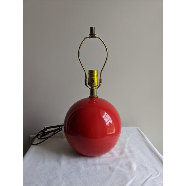 Metal Mid-Century Modern Vintage Red Spherical Ceramic Table Lamp For Sale - Image 7 of 7