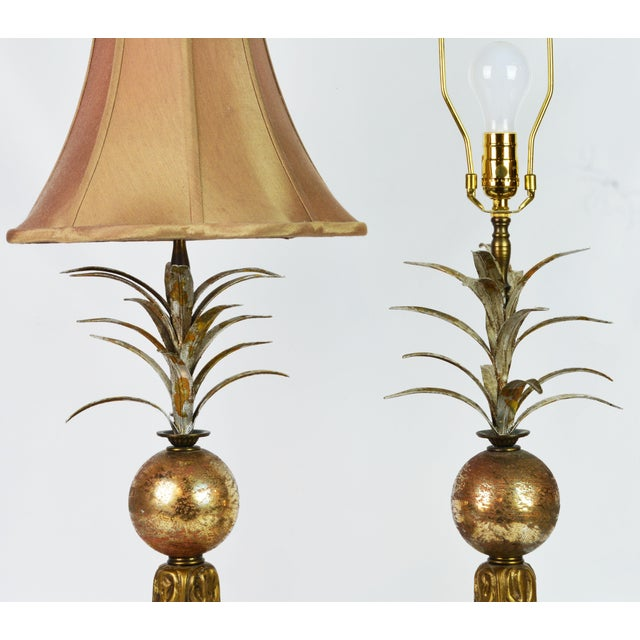 Hollywood Regency Pair of Vintage Tropical Themed Distressed Gilt Table Lamps by John Richard For Sale - Image 3 of 12