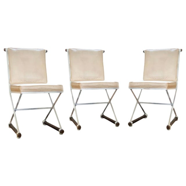 1960s Vintage Cleo Baldon Terra White Wrought Iron & Oak Armless Directors Chairs - Set of 3 For Sale