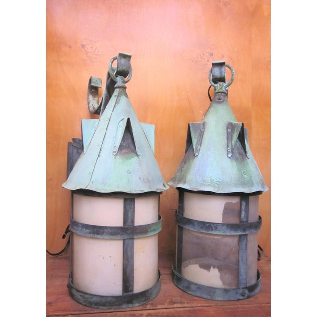 1910s 1910s Arts and Crafts Era Mission Style Verdigris Patina Laterns-a Pair For Sale - Image 5 of 13