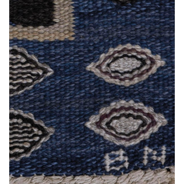 Mid-Century Modern Mid 20th Century Signed Mid-Century Wool Handwoven Swedish Rug For Sale - Image 3 of 8