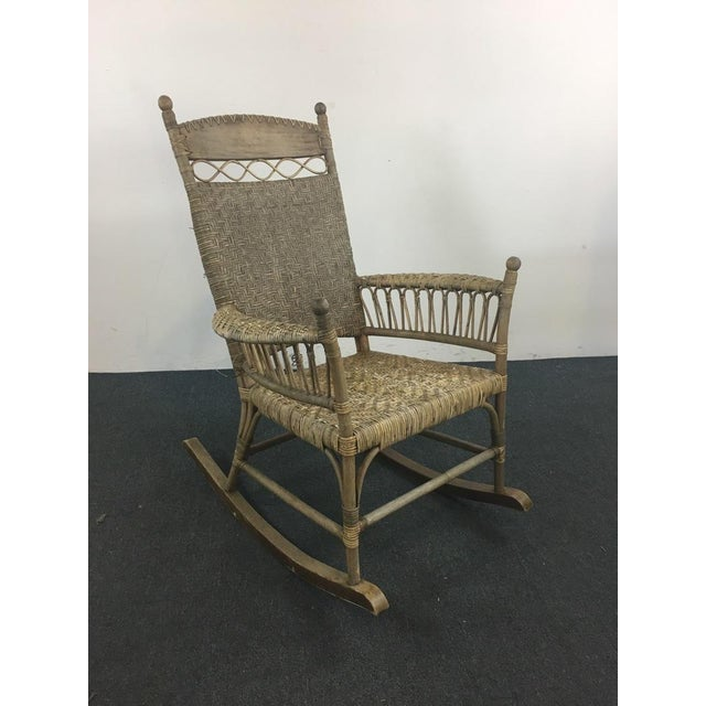 Antique Wicker & Carved Wood Rocking Chair - Image 3 of 4