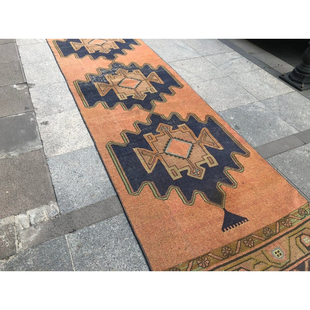 Textile Turkish Floor Wool Runner Rug For Sale - Image 7 of 11