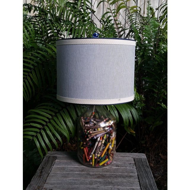 Blue and White Stripe Cotton Off White Trim Coastal Drum Lampshade For Sale In West Palm - Image 6 of 9