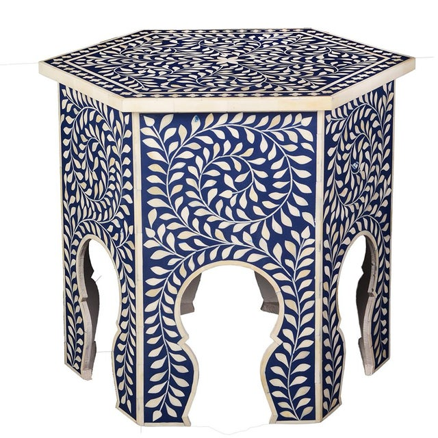 2020s Imperial Beauty Moroccan Accent Table in Indigo For Sale - Image 5 of 5