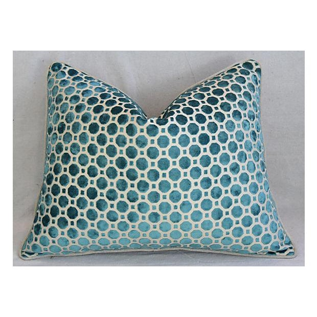 Custom Tailored Marine Green/Turquoise Velvet Feather/Down Pillows - Set of 2 For Sale In Los Angeles - Image 6 of 8