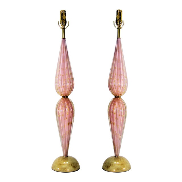 Murano Glass Lamps by Alfredo Barbini -A Pair-Pink & Gold- Restored - Italy Italian Venetian Mid Century Modern Hollywood Regency Palm Beach Boho Chic For Sale