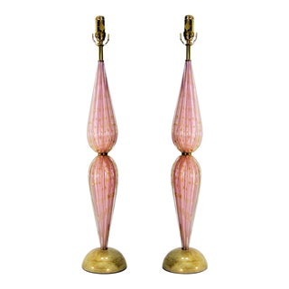 Murano Glass Lamps by Alfredo Barbini -A Pair - Restored - Pink Gold Mid Century Modern Palm Beach Boho Chic Luxury For Sale