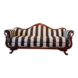 Early 21st Century Victorian Black and White Striped Sofa For Sale