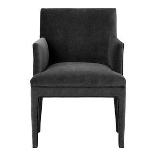 Upholstered Dining Armchair in Charcoal Velvet For Sale
