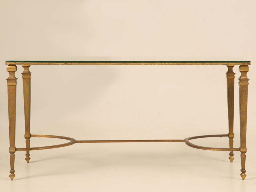 Extraordinary Vintage French Maison Jansen Neoclassical Gilt Bronze Coffee  Table Base Married To A New Mirrored