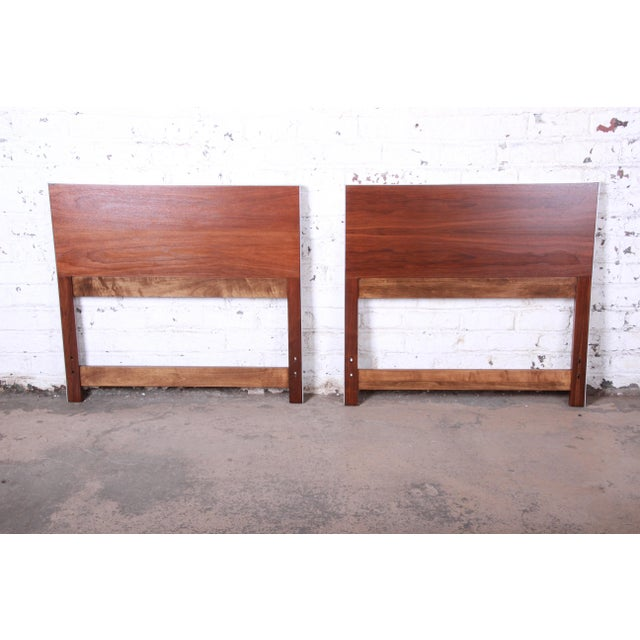 Metal Paul McCobb for Calvin Mid-Century Modern Walnut Twin Headboards - a Pair For Sale - Image 7 of 8