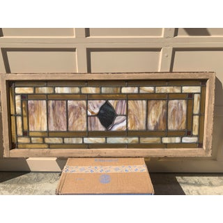 Turn of the Century Stained & Leaded Slag Glass Windows or Transoms - a Pair Preview