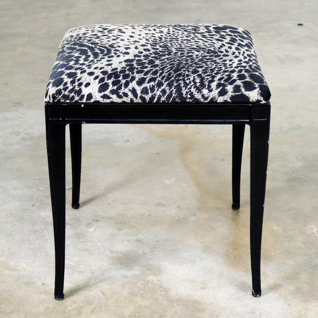 Black Art Deco and Animal Print Bench Ottoman Footstool Cast Aluminum by Crucible For Sale - Image 11 of 11