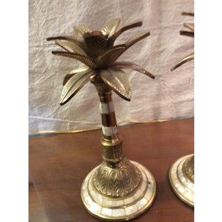 1970s Brass and Mother of Pearl Candleholders - a Pair Preview