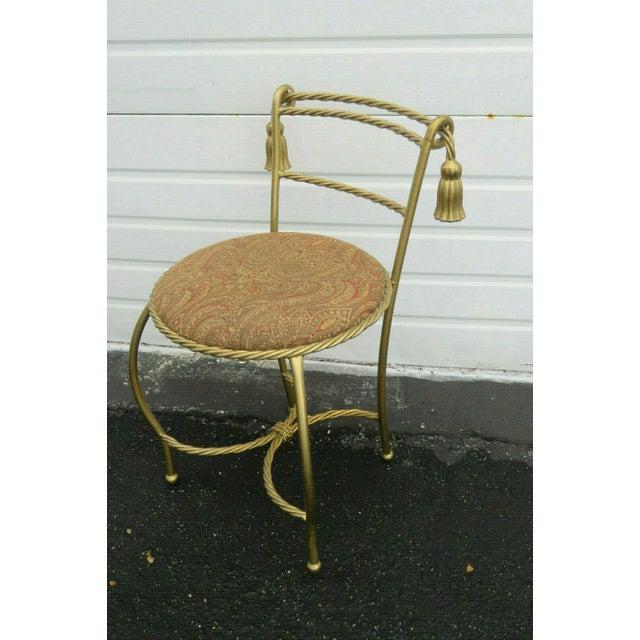 Metal 1970s Vintage Hollywood Regency Painted Gold Iron Vanity Stool For Sale - Image 7 of 11