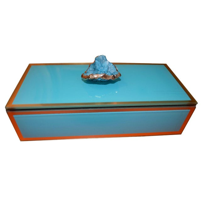 Turquoise Geode Glass Trinket Box For Sale