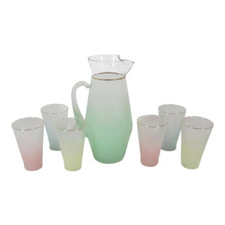 Mid Century Ombre Lemonade Pitcher & Glasses For Sale