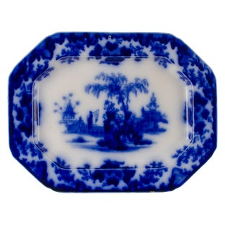 19th Century English Tradtiional J & S Alcock 'Scinde' Oriental Stone Flow Blue Platter For Sale