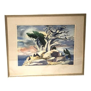 Cypress Tree Framed Original Watercolor Painting by Brubeck For Sale