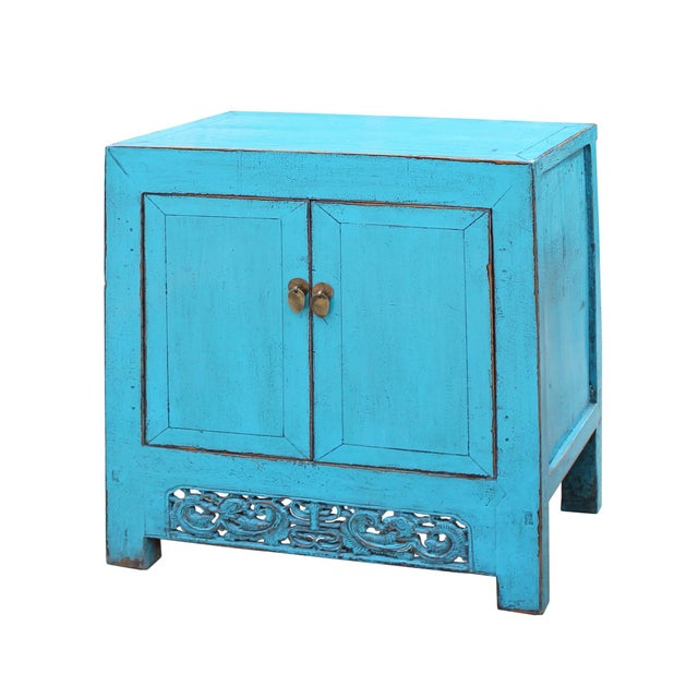 2000 - 2009 Chinese Distressed Rustic Bright Turquoise Blue Foyer Console Table Cabinet For Sale - Image 5 of 9