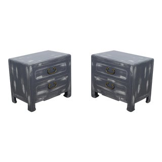Pair of Mid-Century Gray Nightstands For Sale