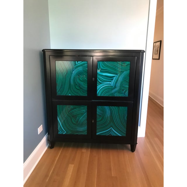 Love this piece but it didn't work for a project. It's in perfect condition. The faux malachite and green lacquer interior...
