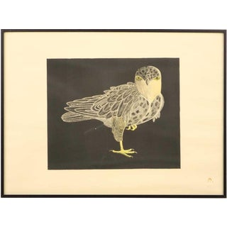 "1980s Kananginak Pootoogook ""Hawk in Winter Darkness"" Lithograph Print For Sale"
