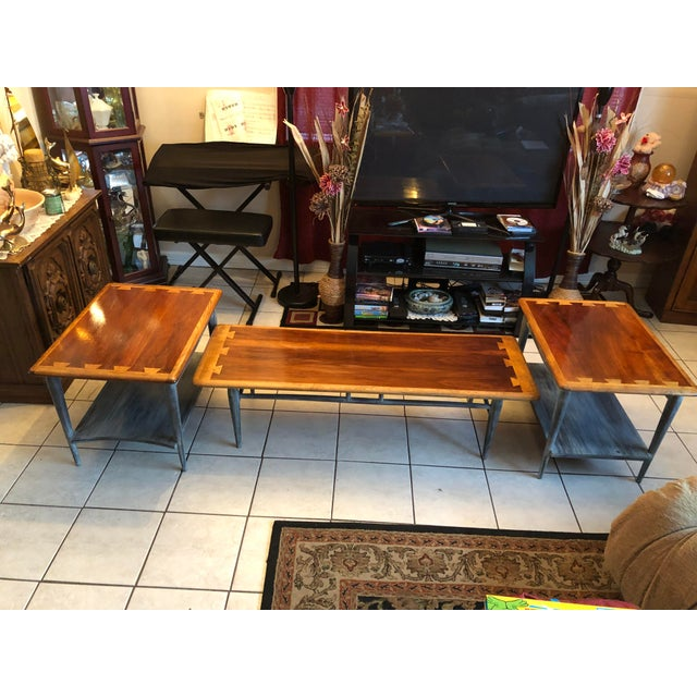 1900s Mid-Century Modern Lane Acclaim Dovetail Coffee and Side Tables - 3 Piece Set For Sale - Image 13 of 13