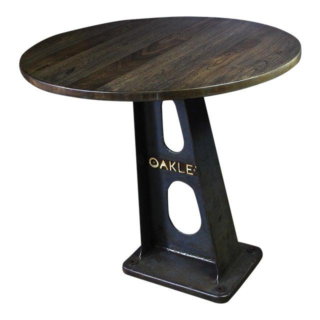 1930s Vintage Cast Iron Machine Base Oak Pub Table For Sale