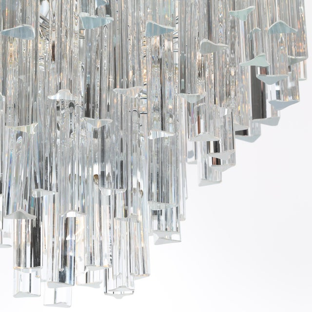 Crystal 1970's VINTAGE CAMER TIERED ITALIAN CRYSTAL CHANDELIER For Sale - Image 7 of 10