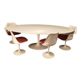 Eero Saarinen Oval Dining Table & Swivel Chairs - 5 Pieces For Sale