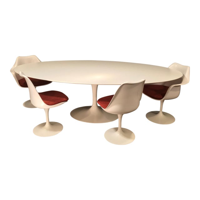 Eero Saarinen Oval Dining Table & Swivel Chairs - 5 Pieces. Mid-Century, Knoll For Sale