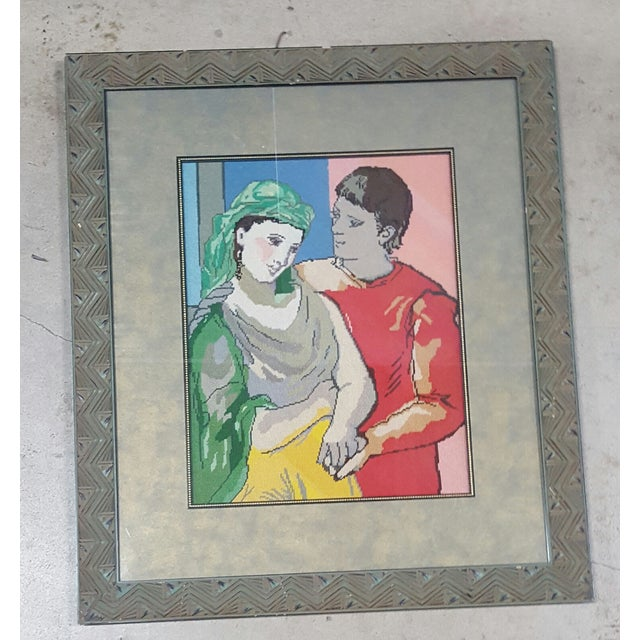 Picasso Man & Woman Framed Needlepoint - Image 2 of 3