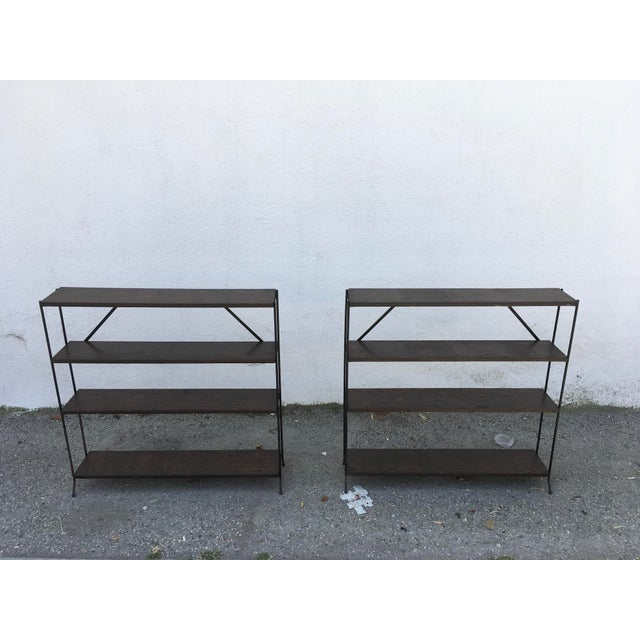 Brown 1950s Modern Style Iron & Wood Shelves - a Pair For Sale - Image 8 of 8
