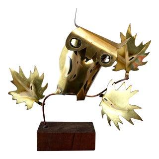 Mid Century Brutalist Brass Owl Sculpture For Sale